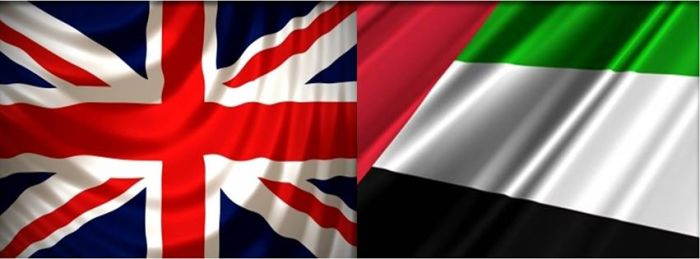 uk and uae flags